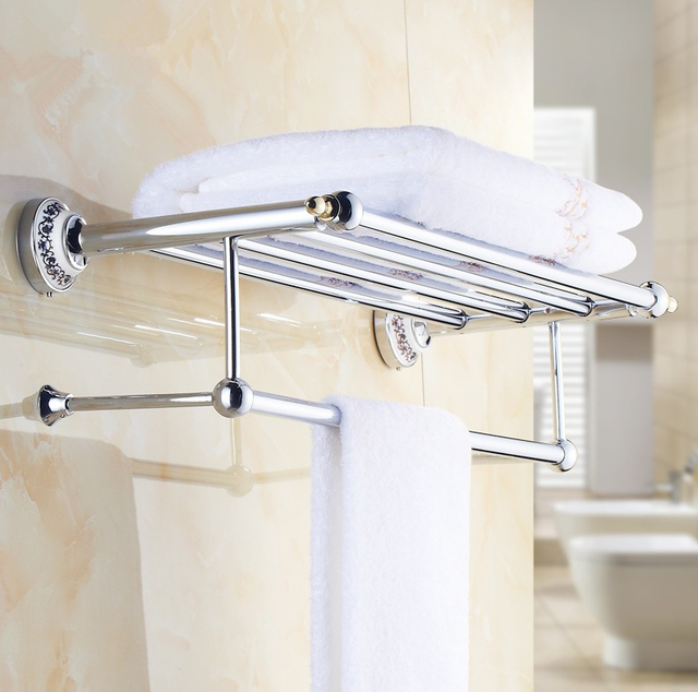 Where To Put Towel Bars In Bathroom: 2016 Luxury Chrome Design Towel Rack,Modern Bathroom