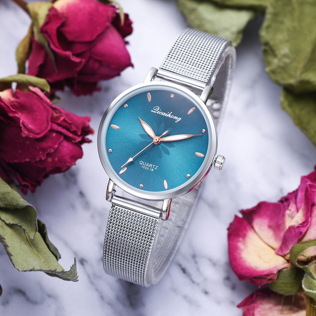 Women's Wristwatches Luxury Silver Popular Pink Dial Flowers Metal Ladies Bracelet Quartz Clock Fashion Wrist Watch 2019 Top 3