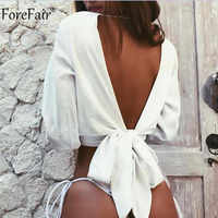 Forefair Backless V Neck White Sexy Blouse Women Summer Wrap Shirt Long Sleeve Chiffon Womens Tops and Blouses