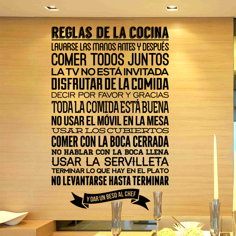 Reglas de la Cocina Spanish kitchen Rules wall Sticker Quote home decor DIY WALL DECALS STICKERS FREE SHIPPING