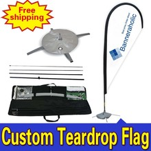 110cm*410cm Custom Flag Maker  Single Side  Printing Teardrop Banners Flags with Cross Water Bag Any Design Color Logo