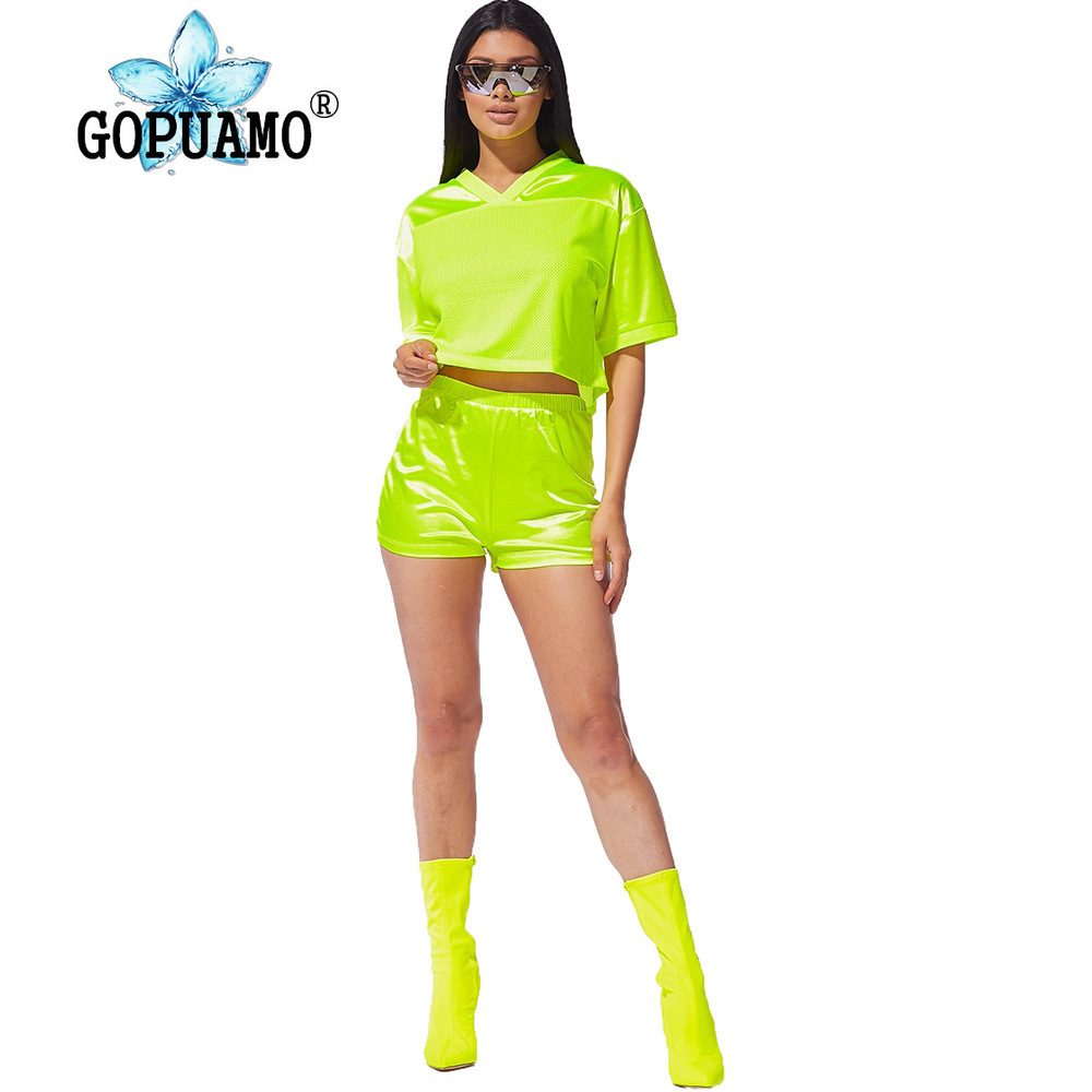 Neon Green Mesh Patchwork Two Piece Outfit Women Festival Clothing V Neck Half Sleeve Crop Top And Biker Short Casual Tracksuit