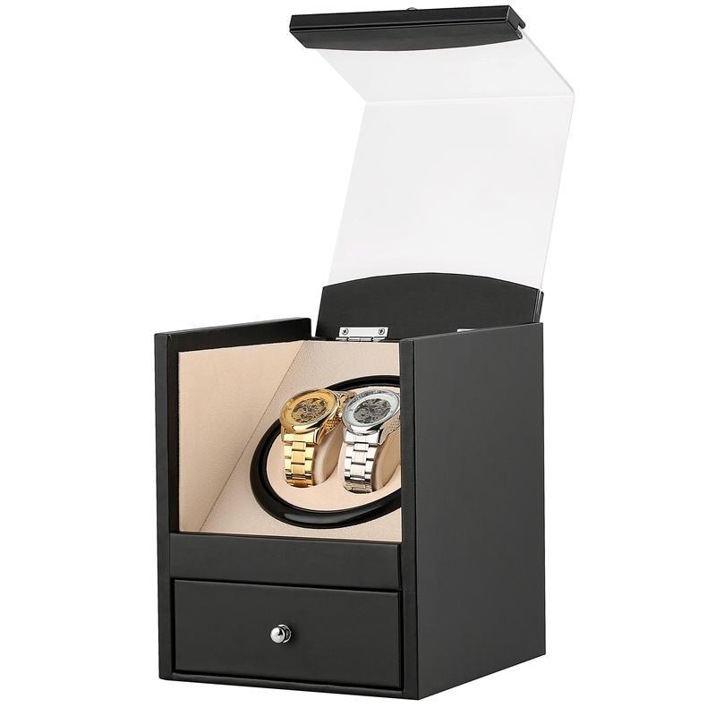 Mute Watch Winder Motor for 2 Automatic Mechanical Watch Luxury Dual Motor Shaker Watch AU/EU/US/UK Plug Black Clock Winder