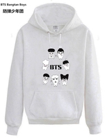 NEW Kpop BTS Bangtan Boys Cartoon Hooded Hoodies Men And Women Spring And Autumn Pullover Jacket