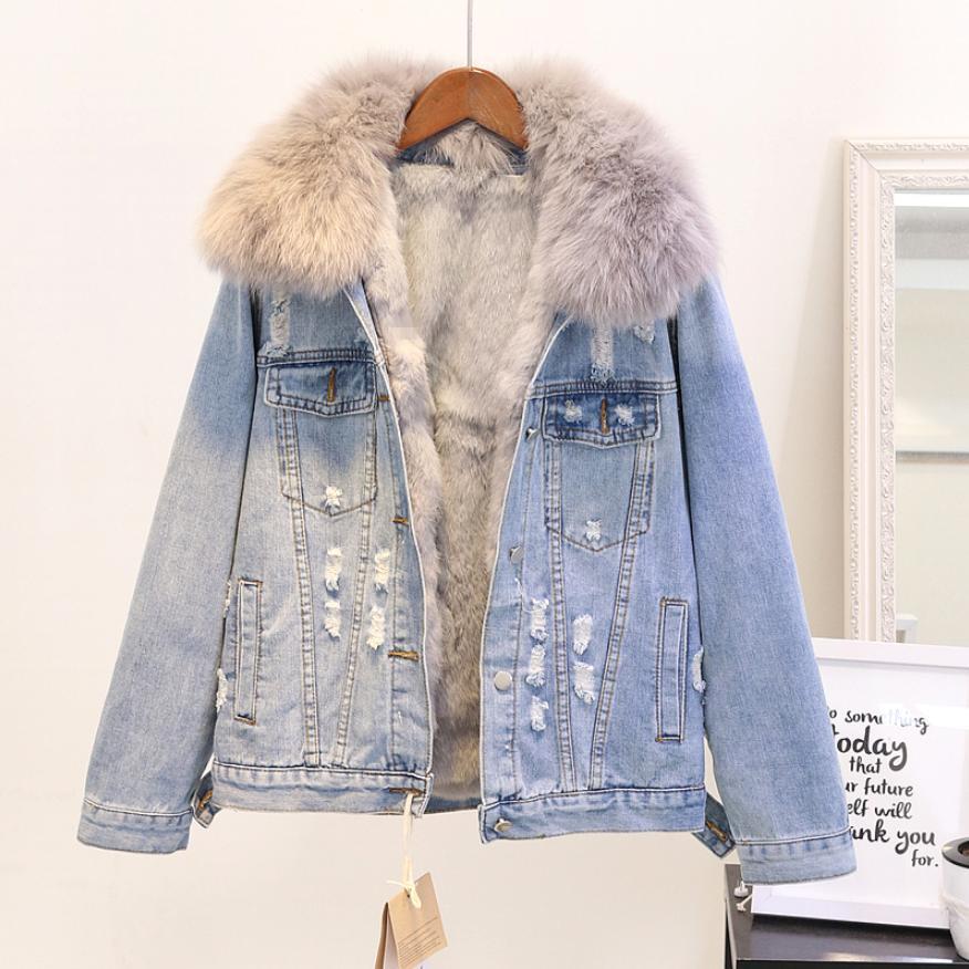 Hiver mode femmes manteau chaud naturel fourrure de renard col + réel lapin cheveux Liner Denim veste femme épaissir lâche fourrure Outwear L1784