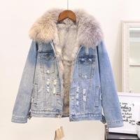 Winter Fashion Women Warm Coat Natural Fox Fur Collar+Real Rabbit Hair Liner Denim Jacket Female Thicken Loose Fur Outwear L1784