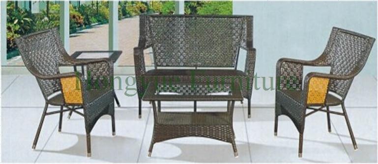Outdoor indoor garden rattan wicker iron sofa set rattan sofa set 4 pcs pastoralism home indoor outdoor rattan sofa for living room