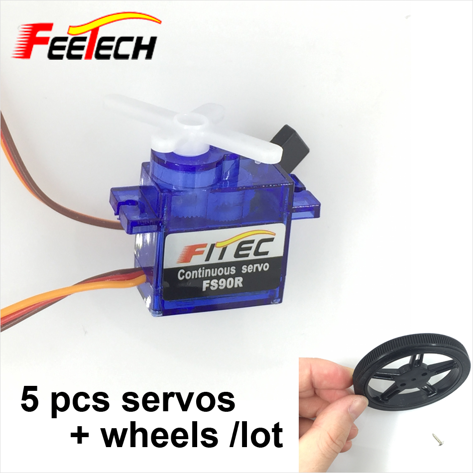 5 pcs Feetech FS90R Servo + Wheel 360 Degree Continuous Rotation Micro RC Quadcopter Servo with Wheel For Car Boat Robot Drones levett caesar prostate massager for 360 degree rotation g spot