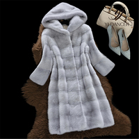Hooded Faux Fur Jacket 2019 Women Autumn Winter New High Quality Long Mink Fake Fur coat Fashion Long Sleeve Ladies Fur Overcoat