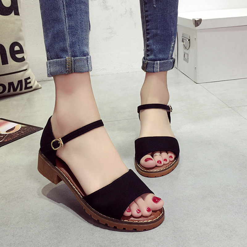 Hot Sale 2016 New Summer One Word Buckle Woman Sandals Cut-outs Belt Buckle Tendon Bottom Fashion Shoes Free Shipping ST330 2016 spring and summer free shipping red new fashion design shoes african women print rt 3