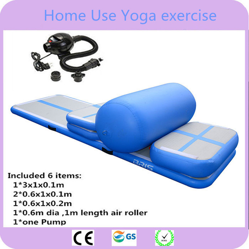 Envío Gratis 6 piezas (4 mat + 1 rodillo + 1 bomba) inflable equipo de gimnasio en casa de aire conjunto de entrenamiento/aire gimnasio Mat para casa edición