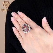 פנינה של בלט 5.21Ct טבעי צבעוני טורמלין חן טבעות נשים של 925 סטרלינג כסף אופנה קוקטייל תכשיטים