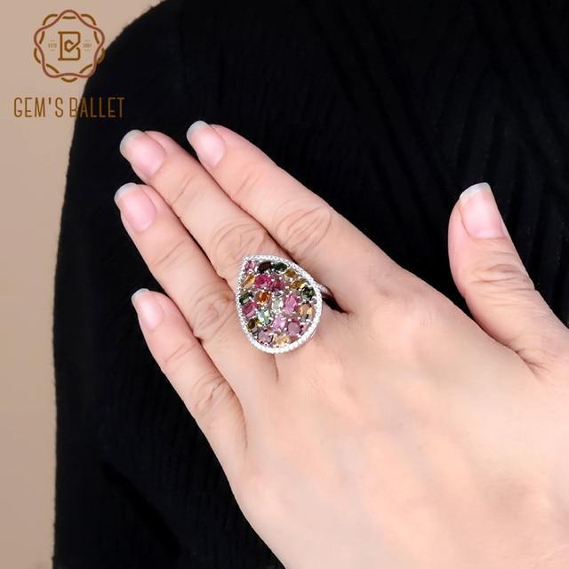 Gem ballet s ballet 5.21ct natural colorido turmalina pedras preciosas anéis feminino 925 prata esterlina moda cocktail jóias finas