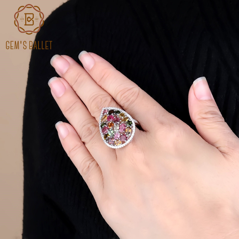 Gem's Ballet 5.21Ct Natural Colorful Tourmaline Gemstone Rings Women's 925 Sterling Silver Fashion Cocktail Fine Jewelry