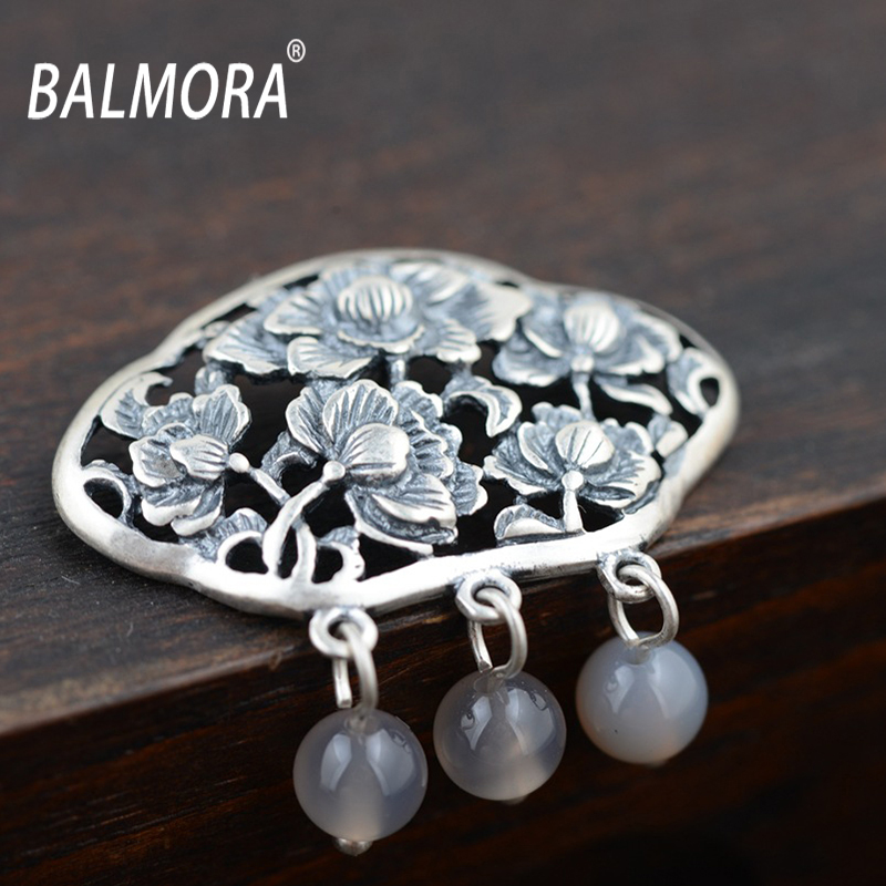 New Retro 100 Pure 990 Silver Jewelry Vintage Hollow Flower With Round Charms Pendants For Necklaces