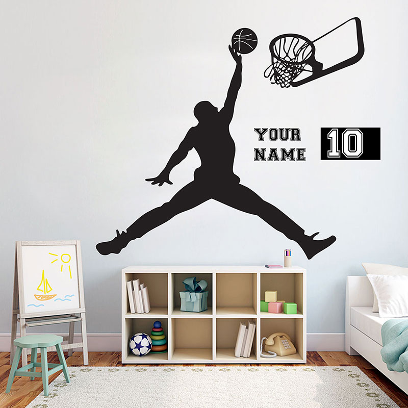 Basketball Vinyl Wall Decal Personalized Wall Decal Boys Room Kids Name Removable Nursery Rooms Home Decor Sport Basketball Sy23 Home & Garden Home Decor