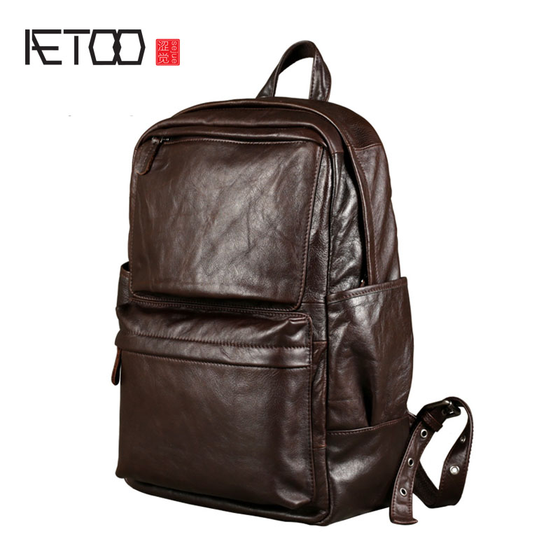 AETOO Leather men 's shoulder oil wrapped in the first layer of leather backpack Korean fashion trend leisure computer bag aetoo shoulder bag leather men bag trend first layer of leather large capacity new of the backpack bag
