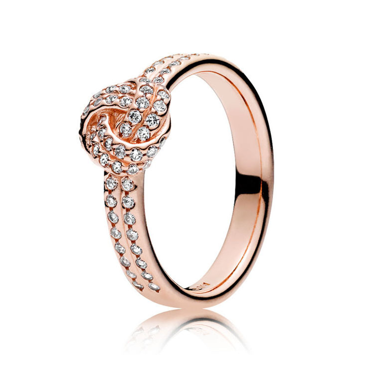 Authentic 925 Sterling Silver Rose Gold Sparkling Crystal Love Knot Feature Pan Rings For Women Wedding Gift Europe Jewelry