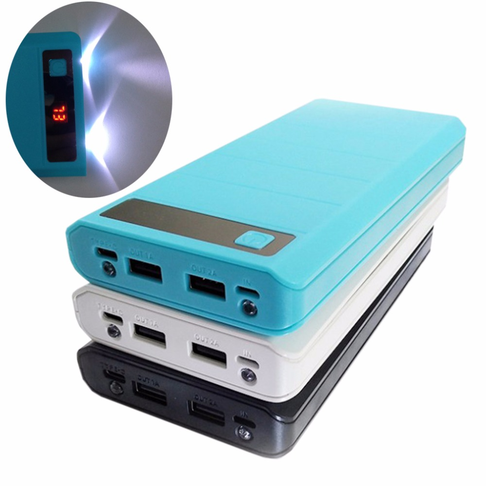Type C input 2 USB Ports 8x 18650 DIY Portable Battery Holder LED Display Power Bank Case Box(no battery)