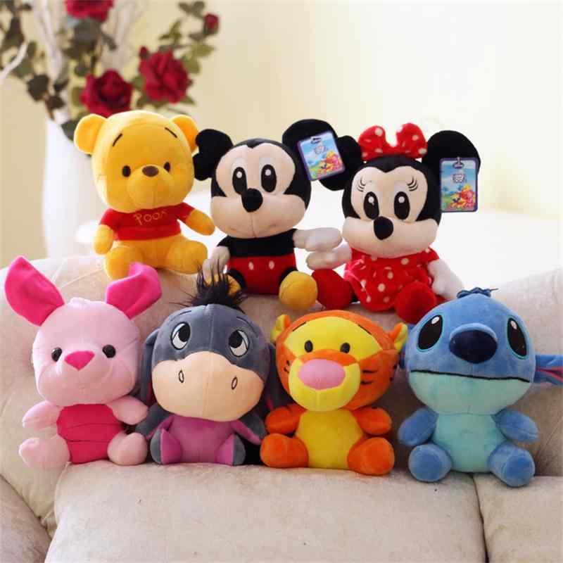 Disney Mickey Mouse Minnie Winnie the Pooh de Pelúcia Animal de Pelúcia Boneca Lilo e Leitão 7 Brinquedo de Presente de Aniversário Da Menina do Menino frete Grátis