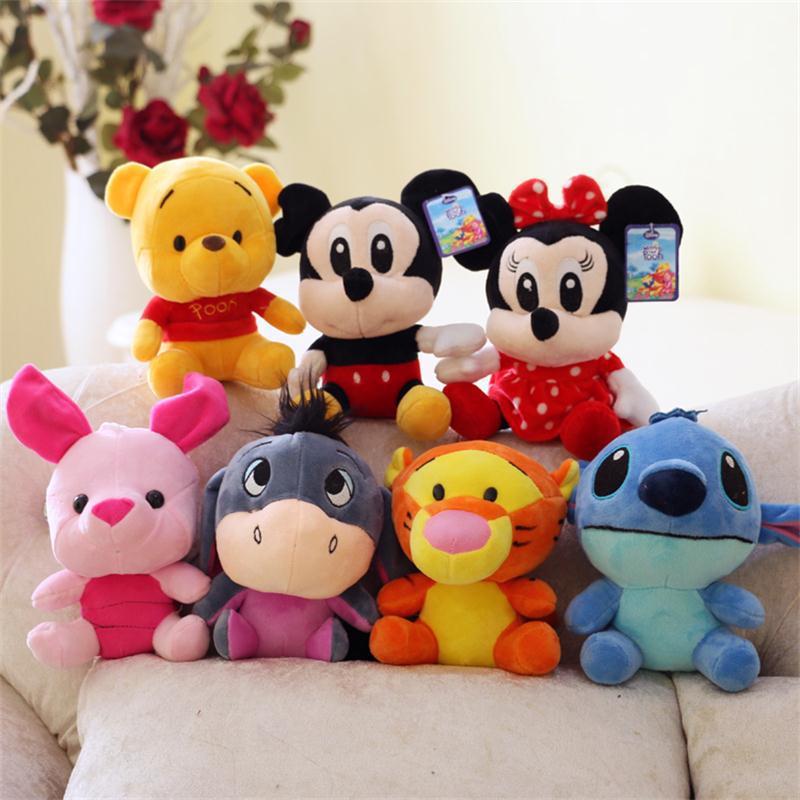 Disney Plush Animal Plush Mickey Mouse Minnie Winnie The Pooh Doll Lilo And Piglet 7 Birthday Gift Boy Girl Toy Free Shipping