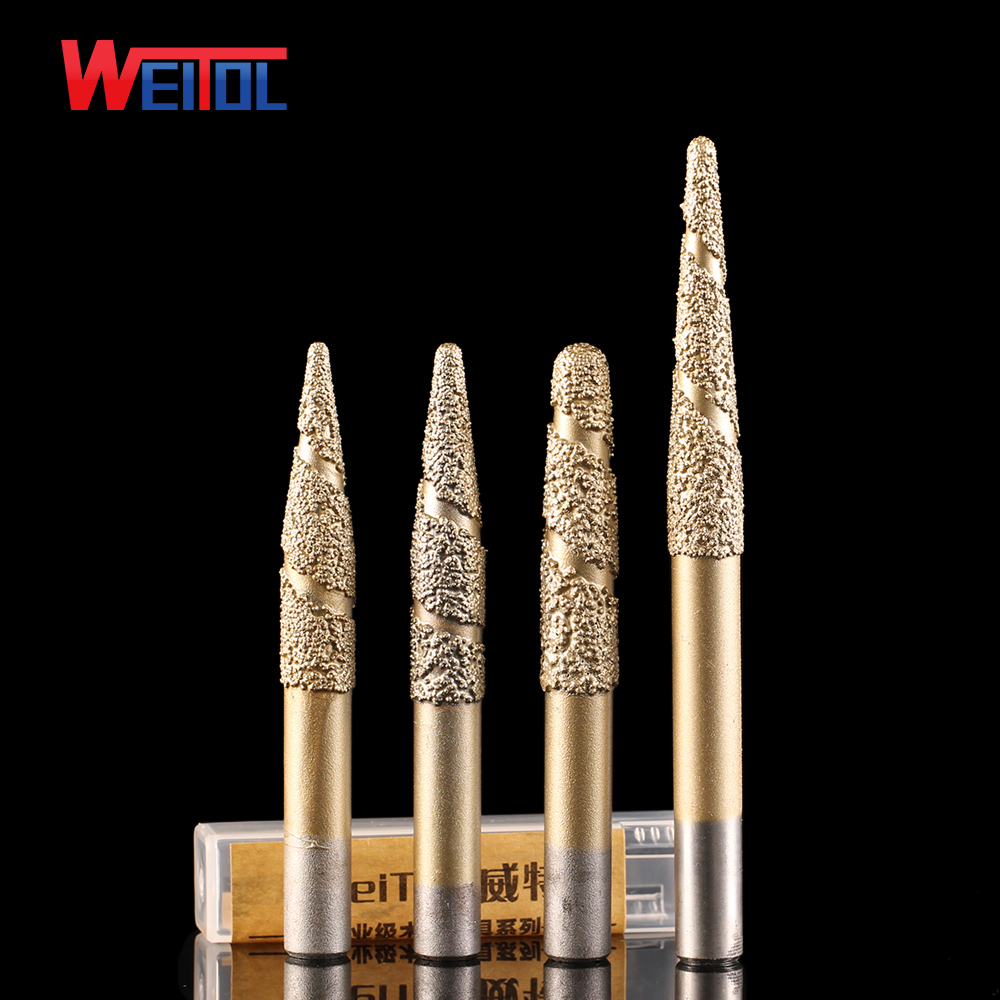 Weitol free shipping 6/8/12mm Brazing stone engraving bits marble granite carving tools CNC router bits taper end mill pcd cnc carving tools diamond router bits stone marble granite tombstone cutting engraving bits shk 6mm angle 70 deg tip 0 4mm