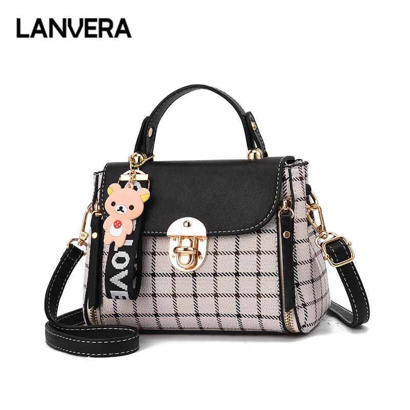 LANVERA brand women solid plaid totes hasp bear hanging flap handag hotsale lady evening purse messenger crossbody shoulder bags 1