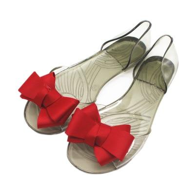 Peep Toe Women Flats Shoes Bowtie Causal Beach Bow Tie Jelly Woman Summer Flip Flops Slippers Slip on Women Sandals dropshipping