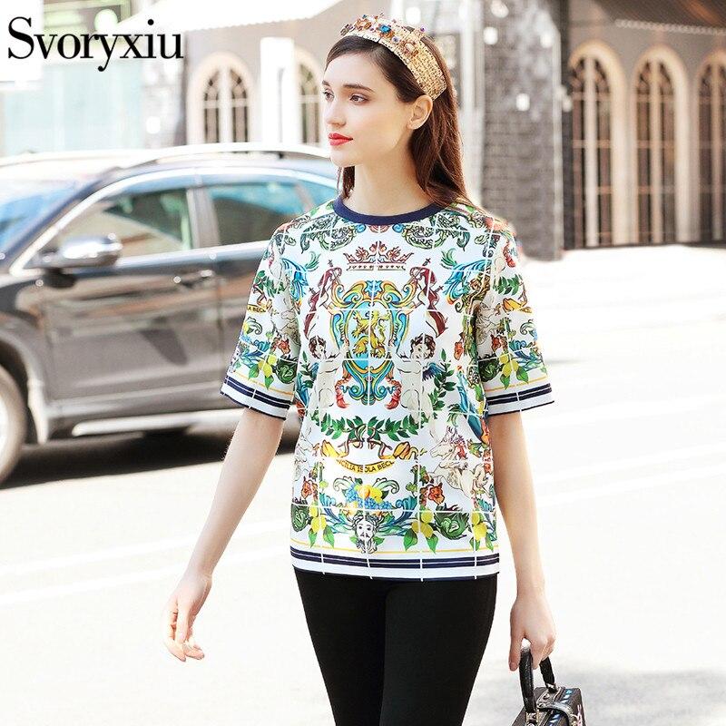 Svoryxiu Designer Brand 2018 Summer Women's Tops Tees Fashion Half Sleeve Angel Floral Print Streetwear Casual T Shirts