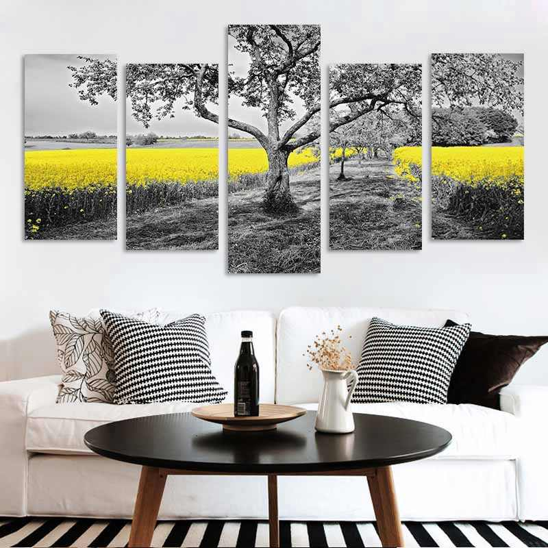 5 Pcs Wall Art Pictures Canvas Painting Poster Print Trees Flower Landscape for Living Room Decor No Frame