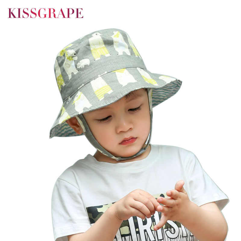 c0ab367404cec5 Double-sided Baby Boy Cartoon Sun Hat Summer Panama Bob Hat Kids Thin  Breathable Bucket