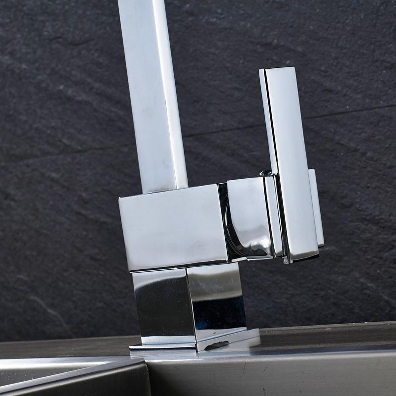 Envío gratuito grifo de cocina de latón de una sola palanca cromado baño cocina grifos calientes y fríos 360 mezcladores de lavabo giratorios 3