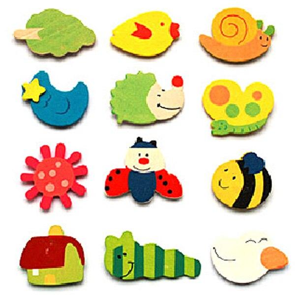 12 шт. милый магнит на холодильник деревянные детские игрушки мультфильм Животные Смешные холодильник игрушки яркие Fun оптом