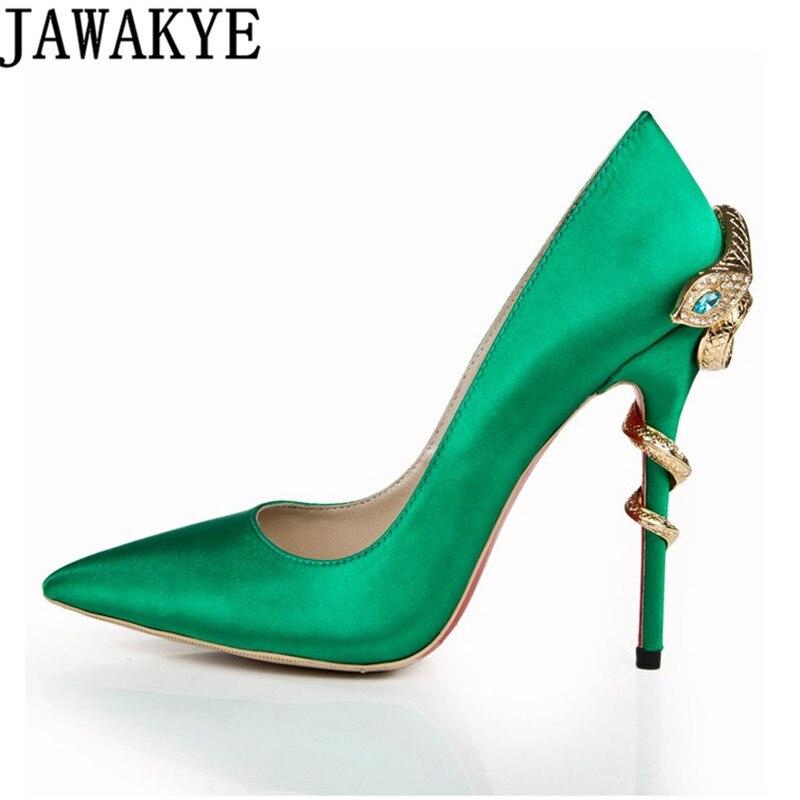 Satin Gold mental snake heel dress shoe women unique silk genuine leather pointed toe high heels pumps chaussures femme 2018