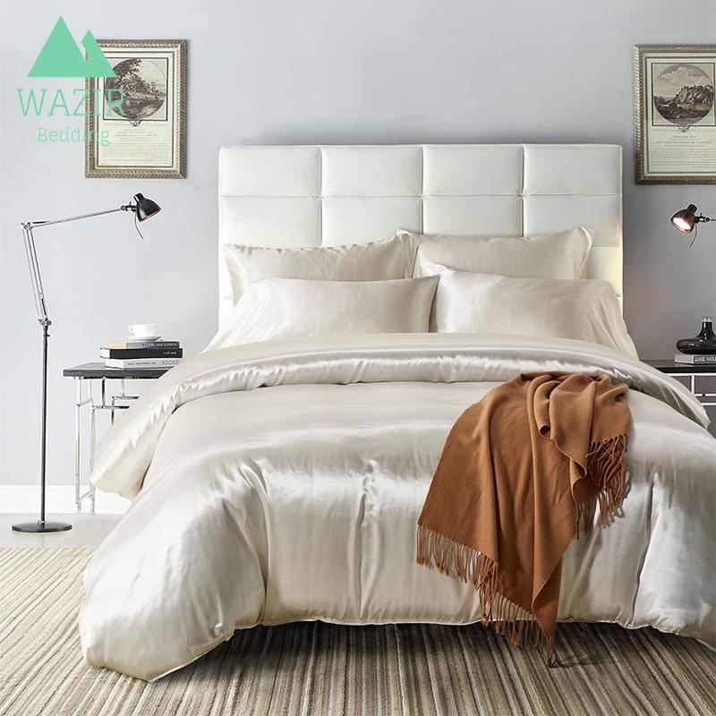 WAZIR IMITATED SILK FABRIC Summer Bedding Set 7 Colors Pure Color Home Textiles Duvet Cover PillowCase Bedroom Bedding Queen