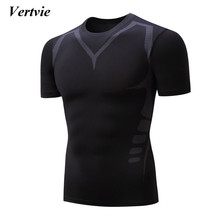 Vertvie Brand New Men's Short Sleeve Breathable Running T-shirts Gym Fitness Sportswear Man Outwear Professional Training Shirts