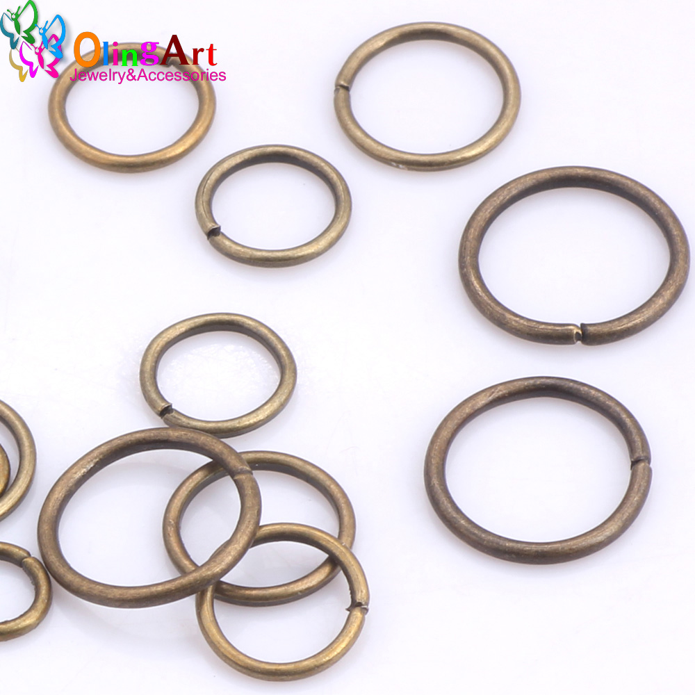OlingArt Plating Bronze Jump Ring 6mm 8mm 9mm 10mm 12mm link loop Mixed size DIY Jewelry making Connector Wire diameter 1 0MM in Jewelry Findings Components from Jewelry Accessories