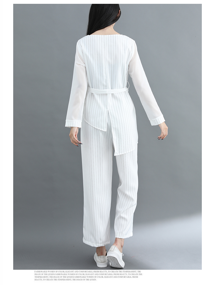 Striped Two Piece Sets Women Long Sleeve Blouses With Belt And Wide Leg Pants Suits Spring Autumn Casual Elegant Ol Style Sets 33