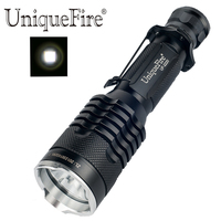 UniqueFire UF 2220 Rechargeable Long Range Police Flash Torch Light Black Tempered Glass Lens Led Flashlight (1*18650 Battery)
