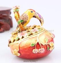 Горный хрусталь Птица через Кольцо на Яйцо Фаберже Кристаллы Ювелирные Изделия Брелок Box Свадебные Подарки