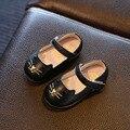 Crianças de couro genuíno shoes 2016 outono lindo gato mary janes shoes flats da menina da criança do bebê criança infantil walking shoes
