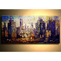 Hand Painted Modern Abstract City Landscape Palette Knife Oil Painting on Canvas Handmade Wall Artwork Home Decorative Pictures