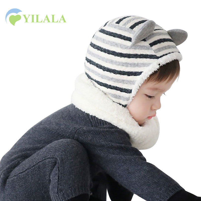Bear Baby Cap Striped Cotton Baby Beanie Hats Plus Velvet Ear Warmers Hats Photography Props Cartoon Boys Cap Baby Boys Clothing