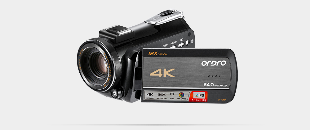 Ordro AC5 4K UHD Digital Video Cameras Camcorders FHD 24MP WiFi IPS Touch screen 100X Digtal Zoom 12X Optical DV Mini Camcorders 25