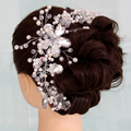 Bridal jewelry pearl with crystal headdress head flower handmade bendable big hair bands butterfly crown hair accessories