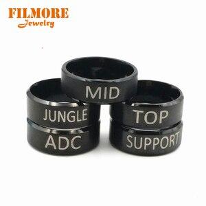 Горячая игра Лига Легенд кольцо LOL Logo 5 стилей ADC Топ MID JUNGLE поддержка титановая нержавеющая сталь модное кольцо для фанатов
