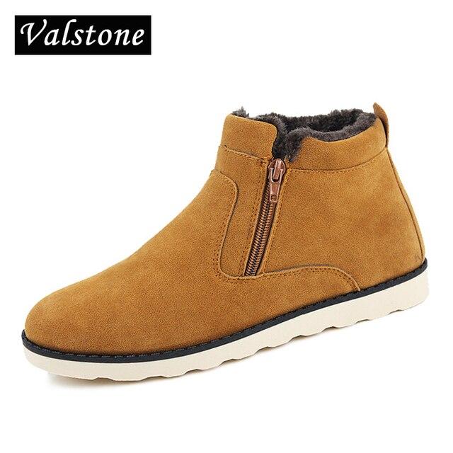 US $37.77 |Valstone 2018 Top Mode Lässig Stiefeletten Männer Warme Winter Pelz Flock Schuhe Leder schnee stiefel slip auf zipper öffnen für liebhaber