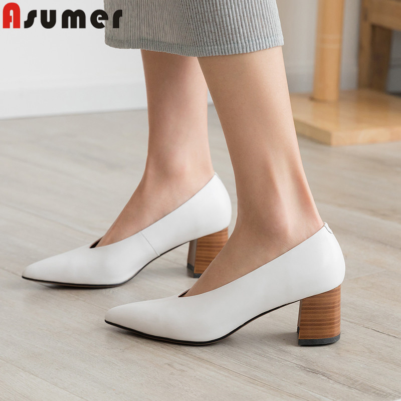 ASUMER 2019 hot sale new pumps women shoes pointed toe shallow square high heels shoes women