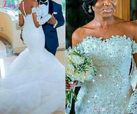 African Mermaid Wedding Dresses Sheer Neck Crystals Beads Sequins Plus Size Wedding Dress Lace Appliques Buttons Bridal Gowns