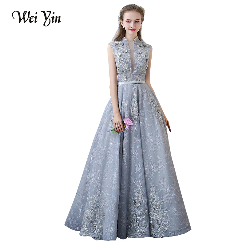 weiyin lace elegant evening dress long chic evening dresses sashes robe de soiree formal dress. Black Bedroom Furniture Sets. Home Design Ideas
